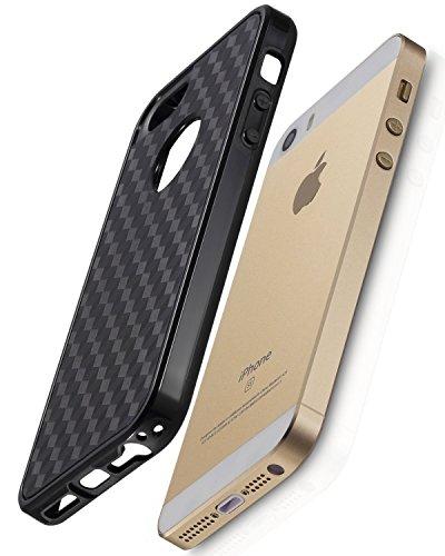 iPhone Case SE, Fosmon DURA-HOLOGRAM Series TPU + PC Bumper Case Hybrid pour Apple iPhone SE (Noir)