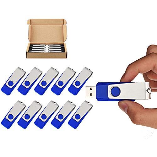 TOPSELL 10 Pack 8GB USB Flash Drives Flash Drive Flash Memory Stick Swivel USB 2.0 (8G, 10PCS, Blue)