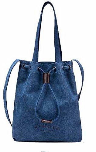 Odomolor Mujeres ToteStyle Bolsas de Mano Moda Casual Lona Bolsos Cruzados,ROPBL180676 Azul
