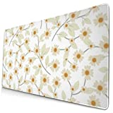 Pressed Yellow Wildflowers Design Pattern XXL XL Large Gaming Mouse Pad Mat Long Extended Mousepad Desk Pad Non-Slip Rubber Mice Pads Stitched Edges (29.5x15.7x0.12 Inch)