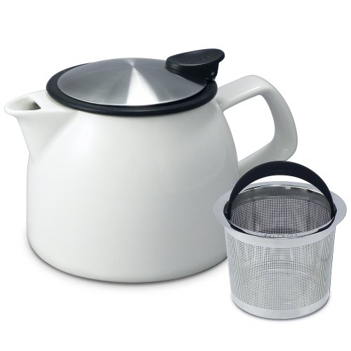 FORLIFE Bell Ceramic Teapot with Basket Infuser, 16-Ounce/470ml, White