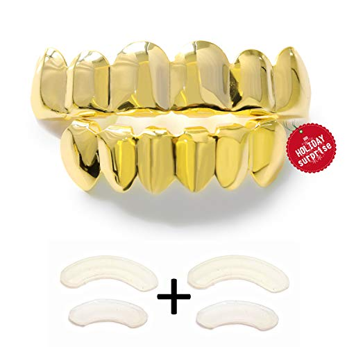 TSANLY Gold Grillz - New Custom Fit Teeth Grill 24k Gold Plated Tooth Grills fit Mouth Caps Top & Bottom Grill Set Grills for Kids + Microfiber -