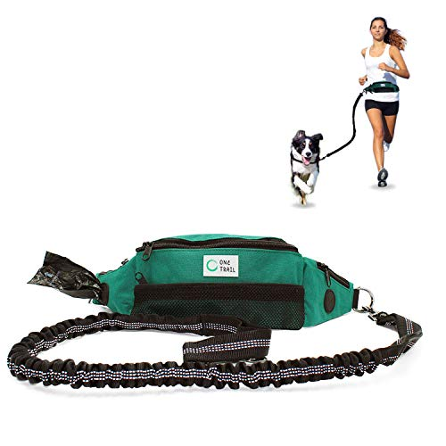 Dog Agility Gear - OneTrail Hands Free Dog Leash (Aqua) | Bungee Leash | Unisex | Fits up to 50