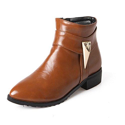 nero diamanti scarpe gomma fibbia beige Rosso H a XIAOGANG tacco di basso cinghia punta marrone a antiusura all'usura brown 39 resistente corti H 6ZqCCw