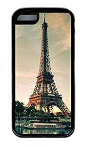 iPhone 5C Case, Personalized Protective Rubber Soft TPU Black Edge Case for iphone 5C - Eiffel Cover