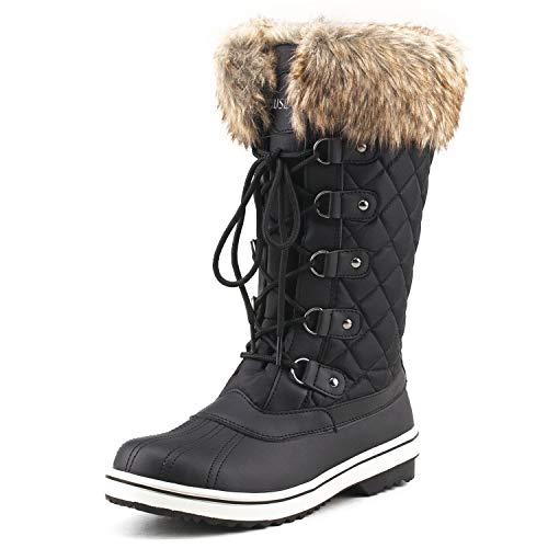 Shenda Women's Mid-Calf Nylon Fabric Snow Boots E7630 Black 5.5US/36EU