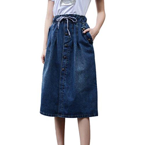 Yuanu Femme Confortable Couleur Unie Taille lastique Drawstring Denim Jupe Loose Casual Simple-Boutonnage Jupe Trapze Bleu