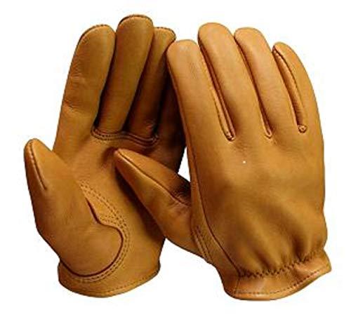 Churchill Classic Short Wrist Deerskin Motorcycle Gloves Made in America Tan (Xlarge) ()