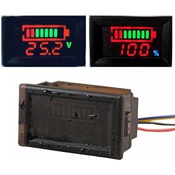 GEREE Waterproof DC 12V 24V 36V 48V 60V 72V 84V 96V Acid Lead/Lithium Polymer/Lithium iron Phosphate/NiMH Battery Capacity Indicator DC12V-96V Digital LED Tester Voltmeter Monitor