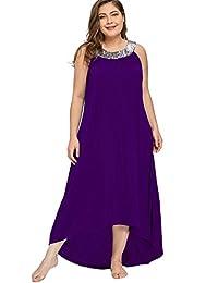 MERRYA Women's Plus Size Halter Sequin Tunic Summer Hi-Lo Maxi Dress