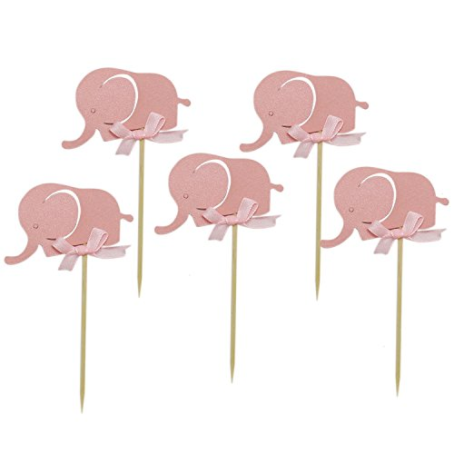 Cute Baby Shower Cupcakes - Buorsa 20 pcs Cute Elephant Cake Topper Baby Elephant Themed Cupcake Picks Baby Shower Birthday Party Decorations Supplies