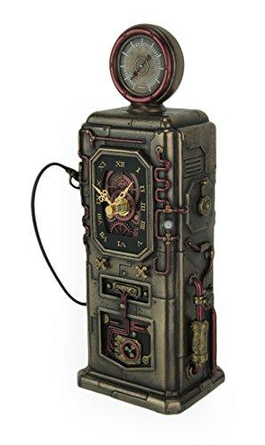 Veronese Design Resin Table Clocks Steampunk Fuel Dispenser Working Clock Tower Statue 3.25 X 11.25 X 3.25 Inches Bronze