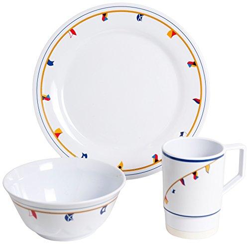 Galleyware Flags 12 Piece Melamine Non-Skid Dinnerware Set