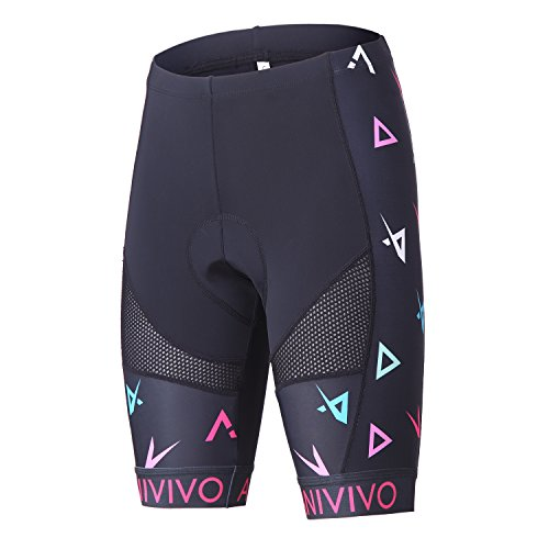 (ANIVIVO Women Cycling Shorts Padded &Bicycle Riding Shorts with Anti-Slip Belt &Road Bike Shorts Comfort Tight Biking Shorts for Women(Color Printed,XL))