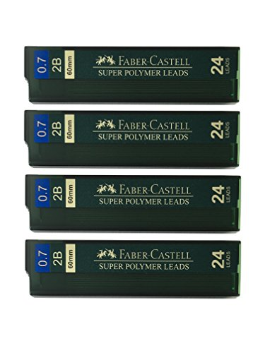 Faber-Castell 0.7mm 2B Super Polymer Premium Strong Dark Smooth Leads Mechanical Pencil Lead Refills For All 0.7 mm Mechanical Pencils (4 Tubes, 24 Leads Per Tube - Total 96 leads)
