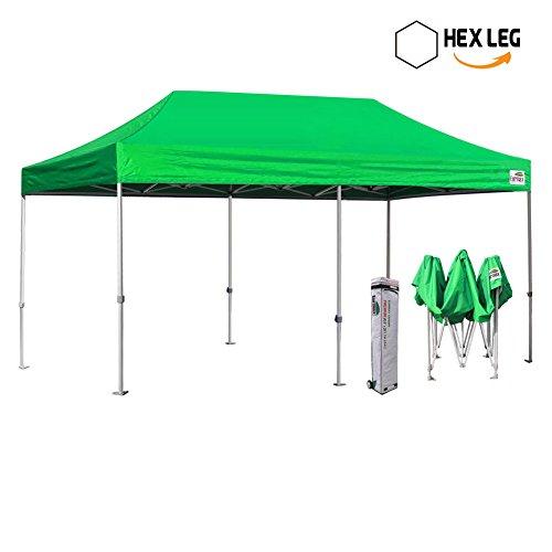 New Eurmax 10x20 Ft Premium Ez Pop up Instant Canopy Wedding Party Tent Gazebo Shade Shelter Commercial grade Bonus Wheeled bag (Kelly green)