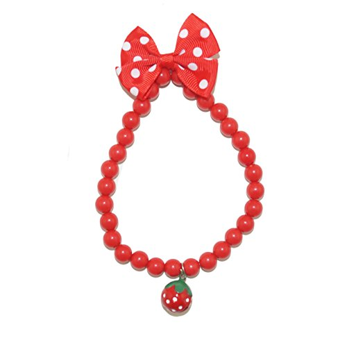 [Remeel Pet Cat Dog Necklace Jewelry with Bling Pearls Strawberry Charm for Pets Cats Small Dogs Female Puppy Chihuahua Yorkie Girl Costume Outfits, Adjustable and] (Dog Girl Costumes)