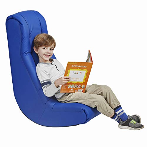 Factory Direct Partners Soft Floor Rocker – Cushioned Ground Chair for Kids Teens and Adults – Great for Reading, Gaming, Meditating, TV – Blue
