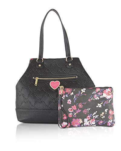 Betsey Johnson Snap Trap Tote With Pouch Shoulder Bag - Black/Floral