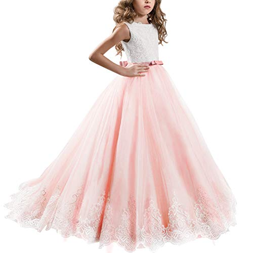 Little Big Girl Lace First Communion Wedding Dress Formal Party Pageant Dance Evening Maxi Ball Gown Floor Length Flower Girls Dress Coral Pink 8-9 Years ()