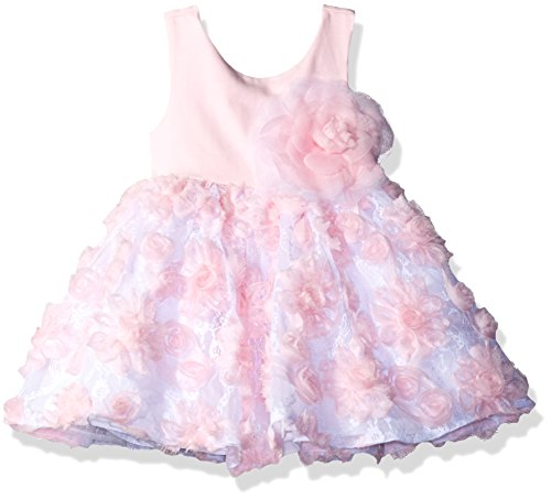 Sweet Heart Rose Baby Girls' Sleeveless Floral Ruffle Flower Dress, Pink/White, 18M Sweetheart Rose Baby Girl
