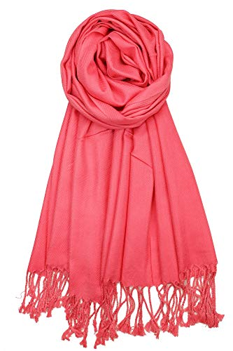 Achillea Soft Silky Solid Pashmina Shawl Wrap Scarf for Wedding Bridesmaid Evening Dress ... (Hot Pink)