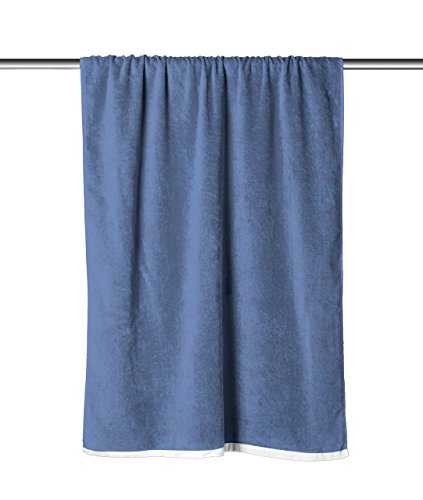 Gifted Parrot Denim Blue Solid Velour Extra Long Beach Towel