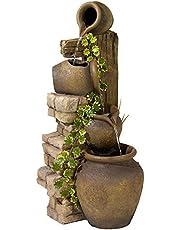 "John Timberland Rustic Floor Water Fountain Three Jugs Cascading 33"" High Indoor Outdoor for Yard Garden Lawn"