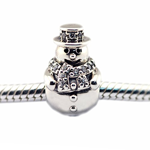 FASHICON European Christmas Gift Snowman Clear CZ Charm Beads 925 Sterling Silver DIY Fits Original Bracelets Jewelry Making (Snowman Sterling)