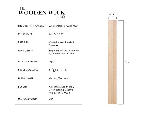 "The Wooden Wick Co. ""Whisper Booster Wick"" for Vegetable Blended & Beeswax Candles with Jar Diameter 3 to 3.5 in, 5"" Candle Wicks, Authentic Wood Wick Candle Making Supplies with Metal Stand by Wooden Wick Co. (Image #1)"