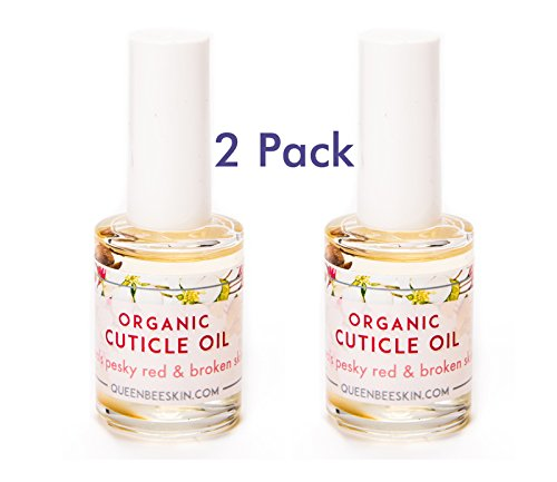Cuticle Oil Bee Nuts Organic Heals Redness and Pain Quickly. Special 2 Pack From Queen Bee by Queen Bee Organic Skin Care