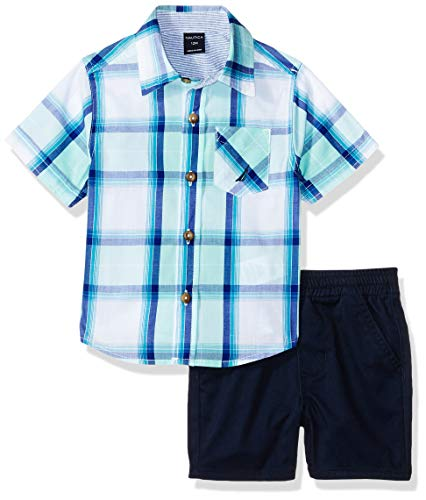 Nautica Baby Boys 2 Pieces Shirt Shorts Set, Green Plaid, 3-6 Months (Nautica Newborn Boy Clothes)