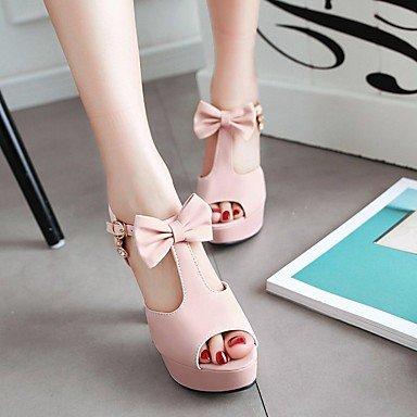 LvYuan Mujer Sandalias Semicuero PU Verano Otoño Paseo Pajarita Tacón Robusto Negro Beige Morado Rosa 10 - 12 cms blushing pink