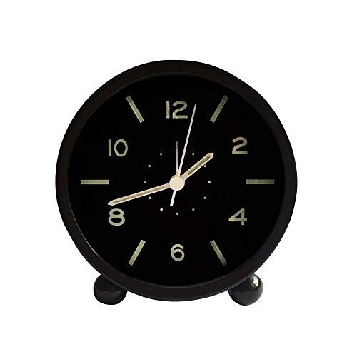 Precision Quartz Movement - Harryup Non Ticking Alarm Clock, Battery Powered Bedside Clock Silent Simple to Set Travel Clocks with Nightlight,Precision Quartz Movement(Black)