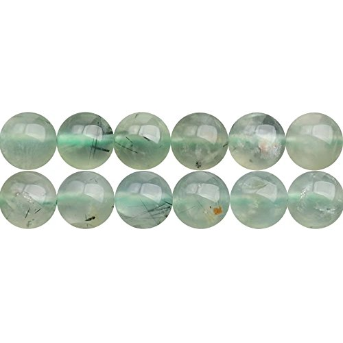 10mm Round Natural Soft Green Prehnite Gemstone Beads Materials for DIY Necklace Bracelet Earrings Jewelry Beading Sold by One Strand 15 Inch Apx 35 Pcs