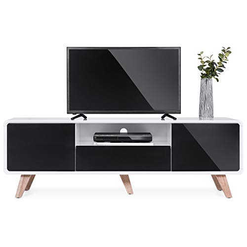 Best Choice Products 59in Mid-Century Modern TV Stand Entertainment Media Console Center for Television Screens Up to 65-Inches w/ 2 Cabinets, Magnetic Push-to-Open Doors, Soft-Closing Hinges, - Drawers Bed Pedestal