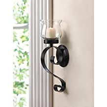 Candles SCROLLING CANDLE Wall SCONCE Black Iron Glass Candleholder Light Gift Office Room Den