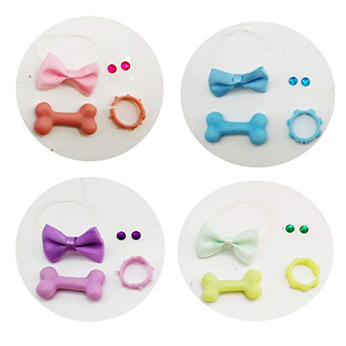 LPS Accessories Lot Bow Collars Bone Necktie Necklace Stick on Earrings Gift Bag Random 4 Pcs Suit for LPS Toys Shorthair Cat Collie Great Dane Dachshund Cocker Spaniel Dog is NOT Included