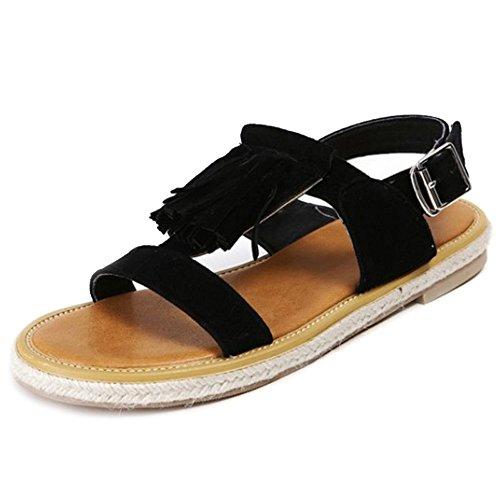 Smilice Women Plus Size Flats Sandals Open Toe Shoes with Parent Fringe Parent with B072Q3Y1R6 85615b