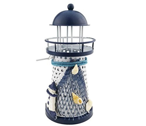 Mediterranean style Metal Iron Blue and White Lighthouse Pharos Beacon Candle Holder Tealight Holder Home Cafe shop Decoration Housewarming -