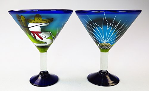 Mexican Margarita Martini glasses and matching Pitcher, Hand Painted Poncho with Cactus (Set of 6 glasses) by Mexican Margarita Glasses (Image #4)
