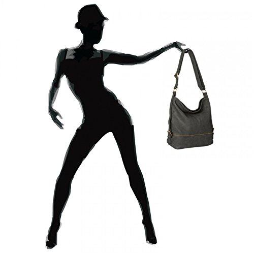 CASPAR TS732 Bolso de Bandolera Grande para Mujer Bolso de Hombro Gris Oscuro