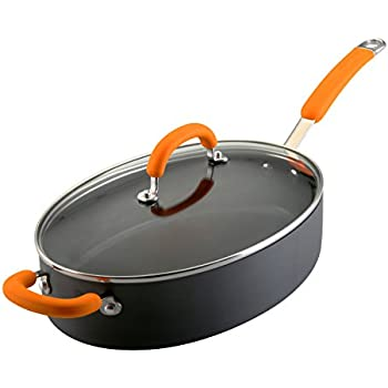 Rachael Ray Hard Anodized Nonstick 5-Quart Oval Saute Pan with Glass Lid, Orange