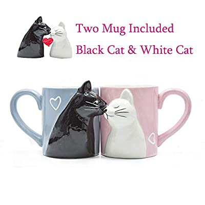 Cat Fan related Products Kiss Cat Coffee Couple Handmade Mug, Funny Tea Ceramic cup set... [tag]