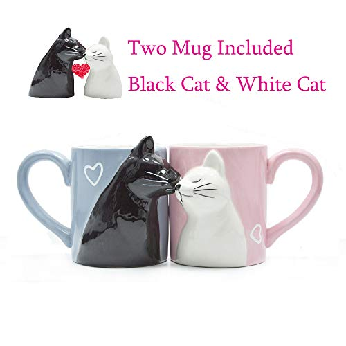 Kiss Cat Coffee Couple Handmade Mug, Funny Tea Ceramic cup set for Bride and Groom, Matching Gift for Engagement Wedding and Married Couples Anniversary Valentines Day Girlfriend Wife