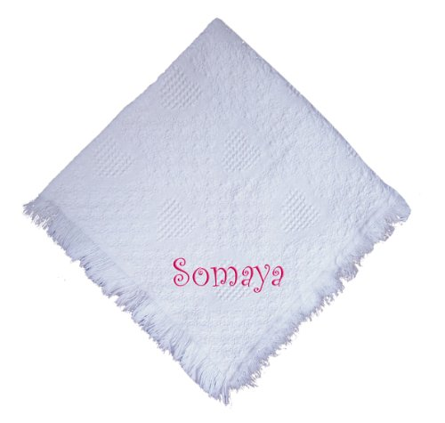 Somaya Girl Embroidered Embroidered Cotton Woven White Baby Blanket