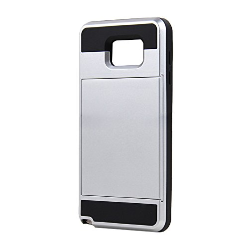 Telefon-Kasten - SODIAL(R)Karte Tasche Stossfeste Duenne Hybrid Mappe Abdeckung fuer Samsung Galaxy Note 5 Silber