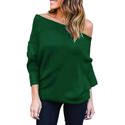 Evening Sweater Top - kaifongfu Off Shoulder Tops,Women Knitted Tops Sexy Loose Batwing Long Sleeve Sweater (L, Green)