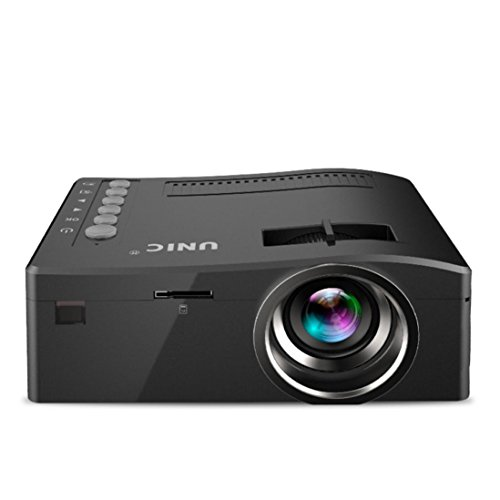 UC18 400lm 1080P Projector Ikevan 1080P HD LED Home MulitMedia Theater Cinema USB TV VGA SD HDMI Mini Projector (Black)