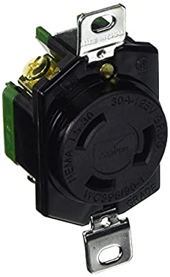 Eaton L530R 30-Amp 125-Volt Hart-Lock Industrial Grade Receptacle with Safety Grip Black and White